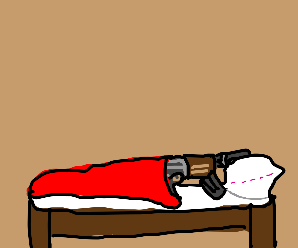 My gun is sleeping on the bed currently