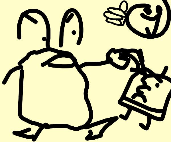 Mr. Krabs mugging Spongebob