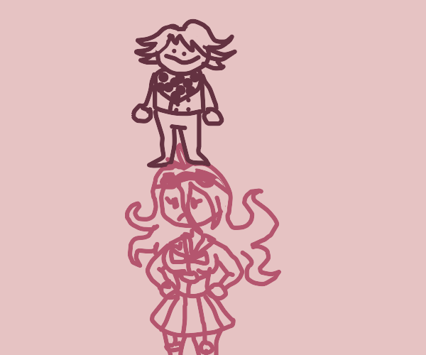 Kokichi Ouma stepping on Miu Iruma