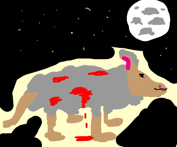 a Blood Covered wolf