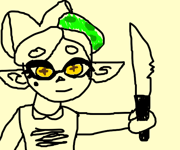 Marie plush with a knife (Marie from splatoon