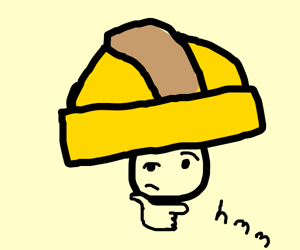 Construction guy with huge helmet is thinking