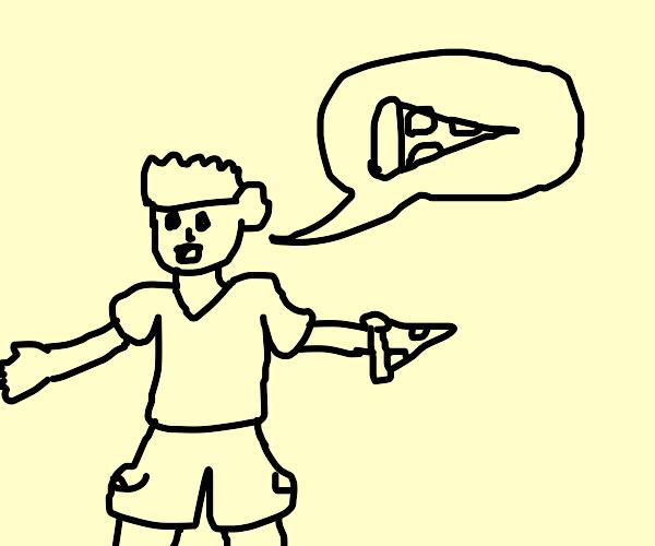 Man talks about pizza