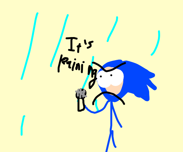 Sonic the Hedgehog giving the weather report