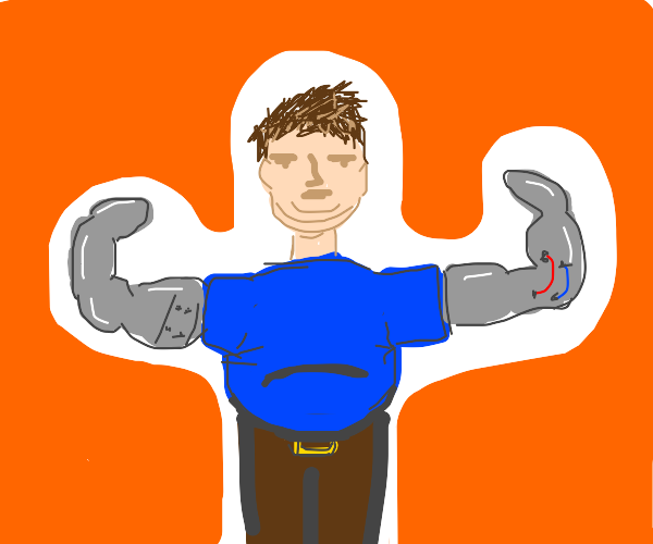 Fat man with metal arm