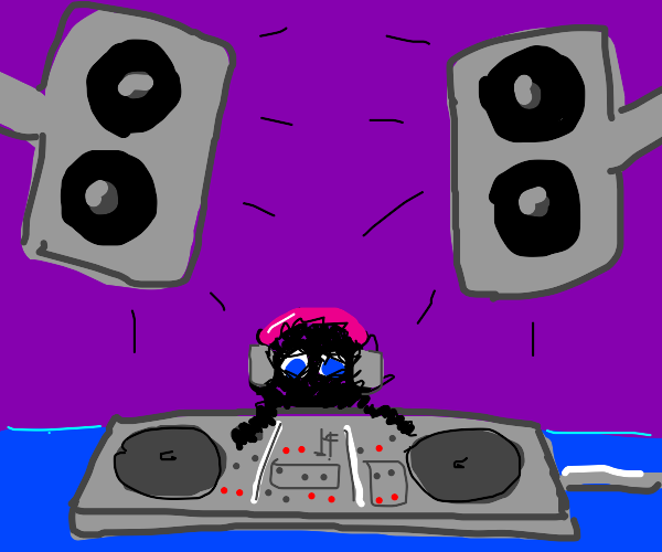 Little black creature playing the mixing tabl