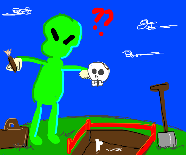 Alien archaeologists find human skull