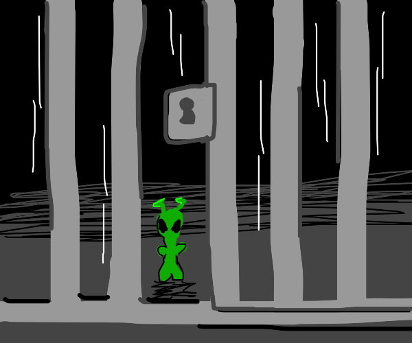 a tiny green alien in jail