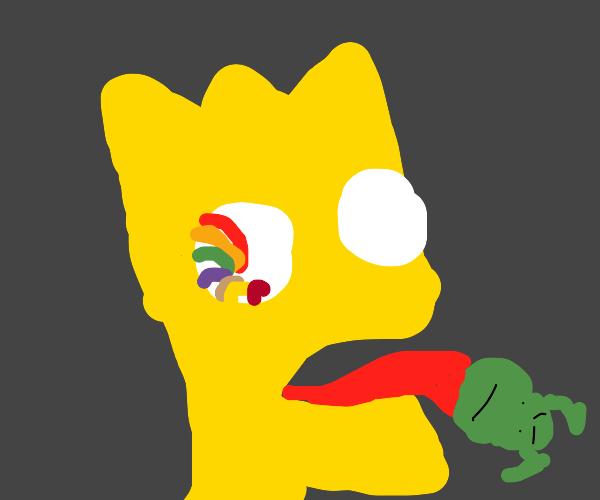 Bart on acid have lil shrek's head on tongue