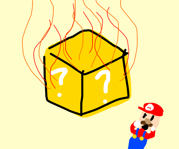 mario ?-box on fire