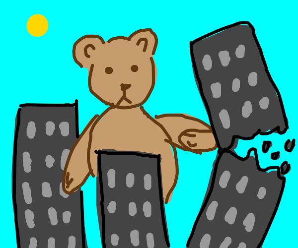Giant bear wreaks city