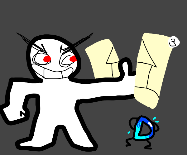 Evil man destroys drawception art