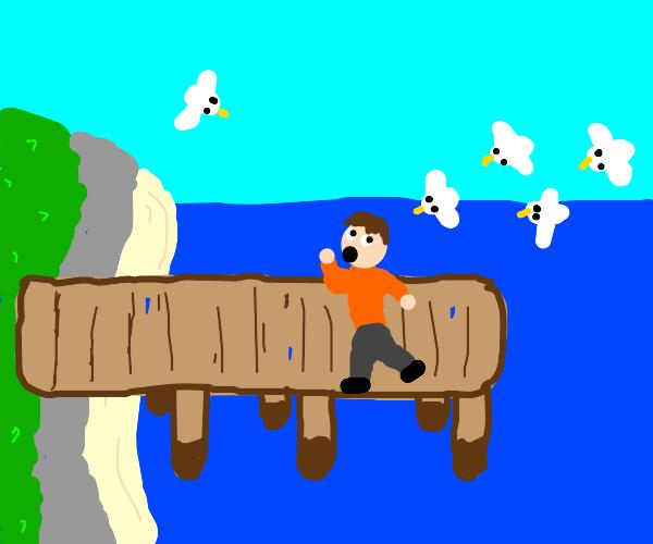 A man running away from seagulls