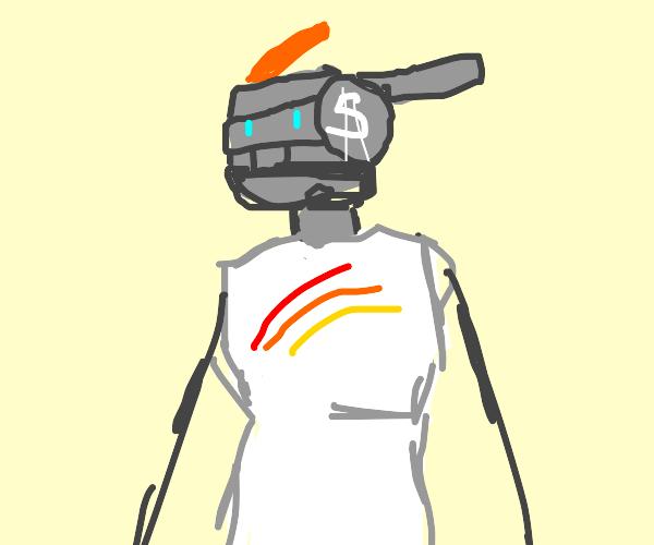 Robot has a rainbow shirt