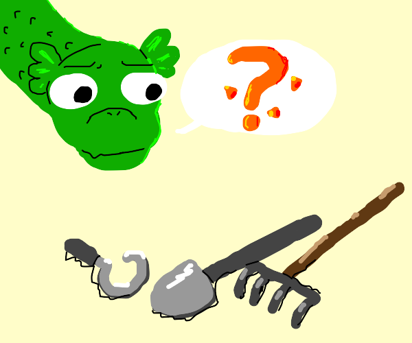 Dragon confused by gardening tools
