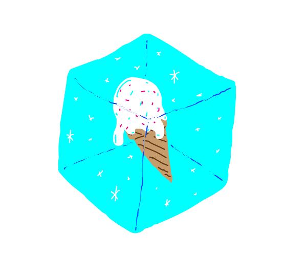 Ice cream frozen inside ice cube