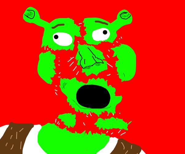 Shrek breaking into pieces