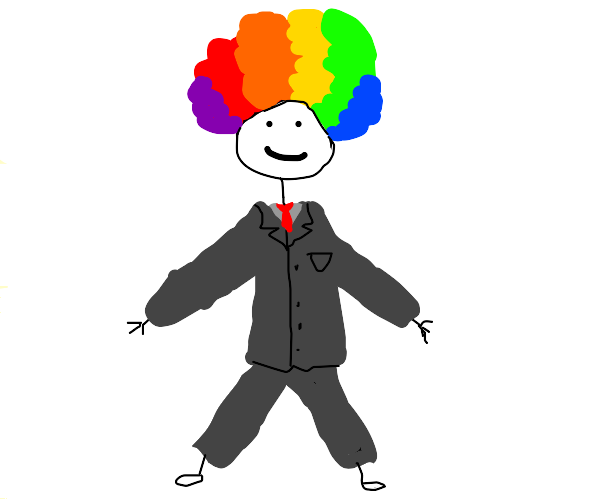 Stickman with wig dressed up in formal suit