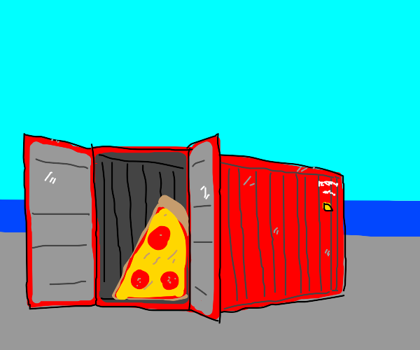 Pizza in metal container