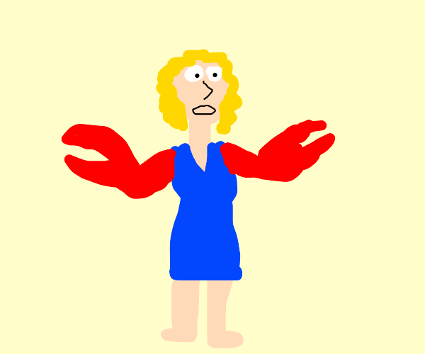 Scared woman with crab arms