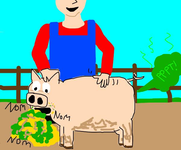Man pets disgusting pig