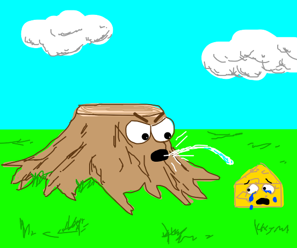 tree stump spitting on a crying cheese block