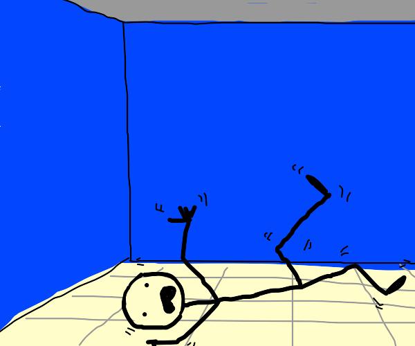 Stickman is moving around on the floor
