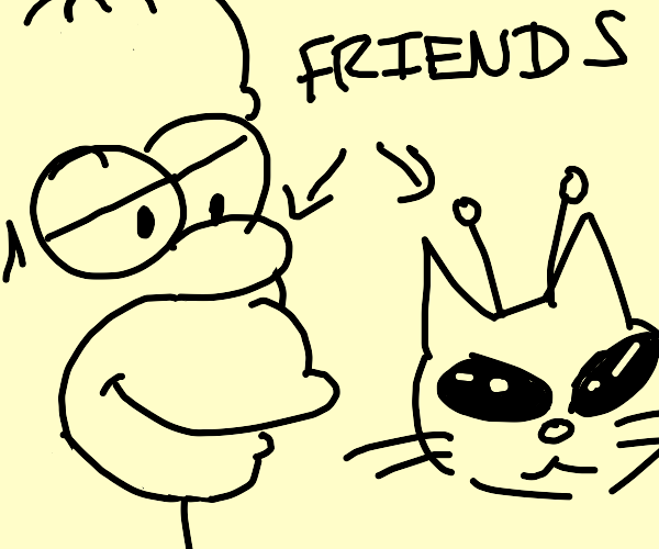 Homer is friends with cat aliens