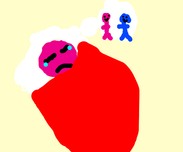 Pink person dreaming of having friends