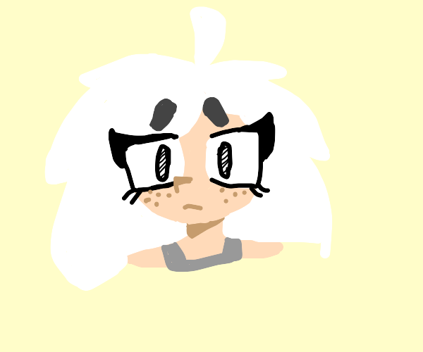 girl with white fluffy hair