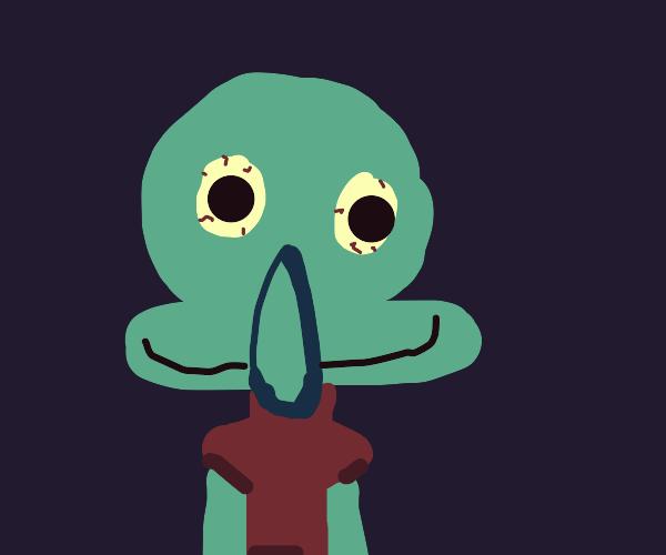 Squidward looking kinda deranged