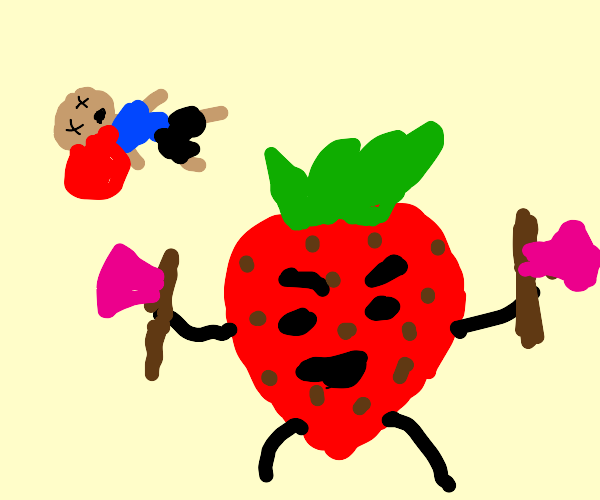 murderer strawberry with a pink axe