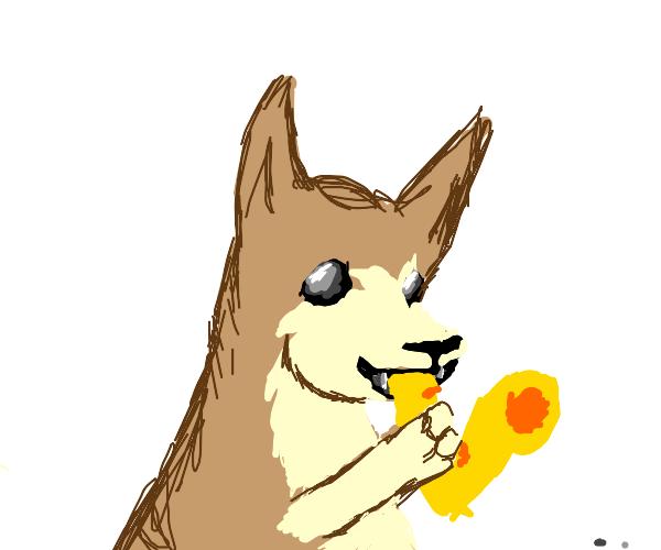 Dog playing the saxophone