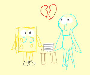 Spongebob is in a divorce with Squidward