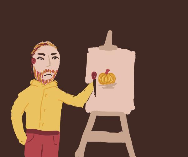 Van Gogh draws a pumpkin
