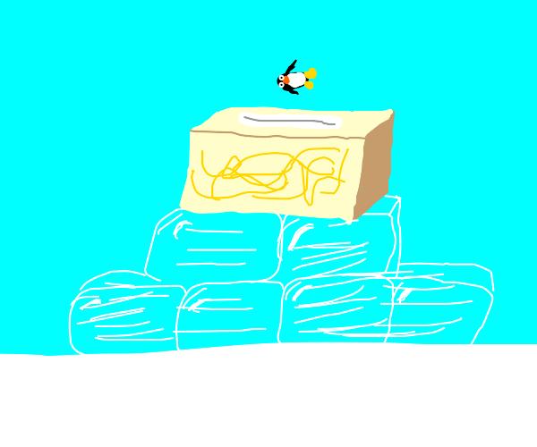 Mini Penguin falling in a tissue box on ice