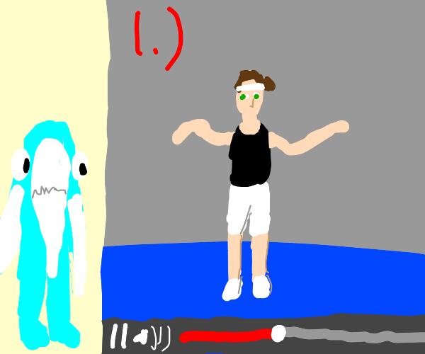 Left shark watches a dancing tutorial