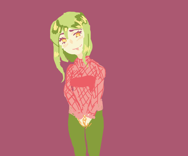 Gren hair girl smiles serenly in pink sweater