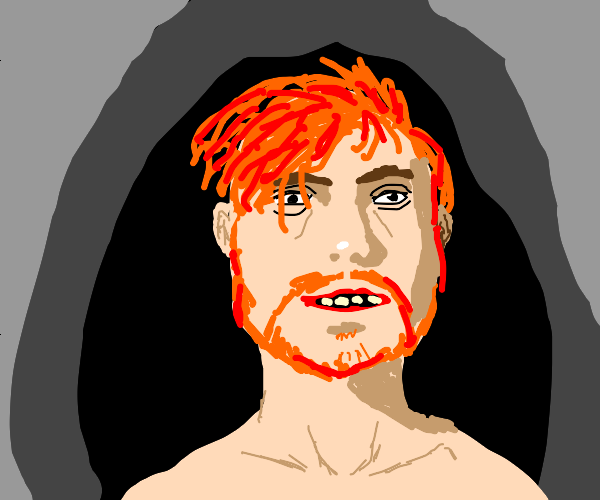 Detailed ginger man in a cave