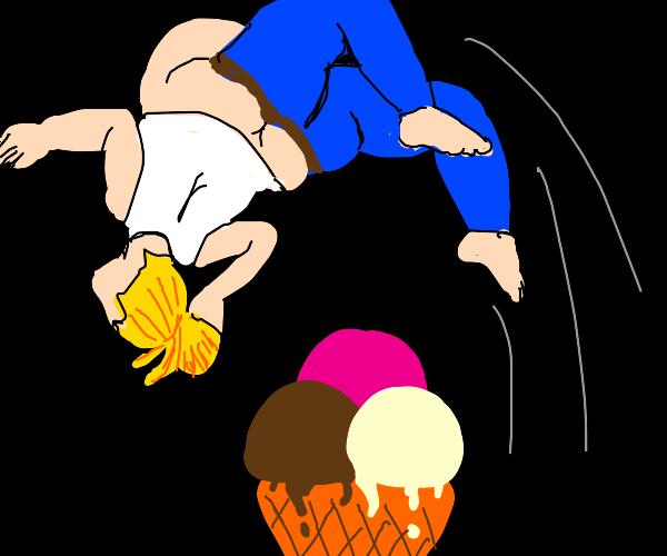 Blonde girl doing a back-flip over ice cream
