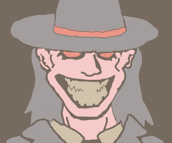 Man in hat grins with red eyes