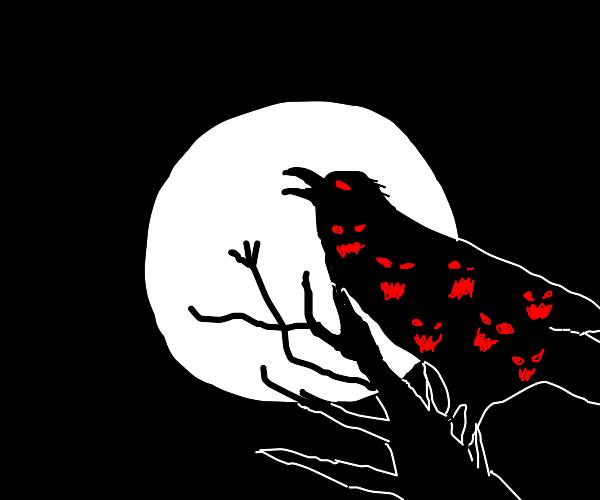 Demonic raven watching the moon