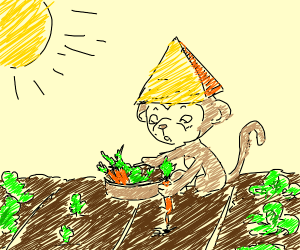 Monkey with a pyramid hat harvests his crops