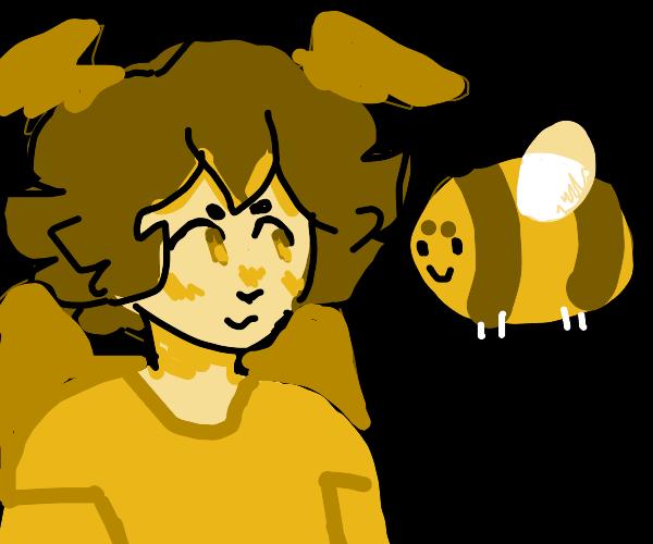 Yellow Bird Girl is Friends w/ Bumble Bee