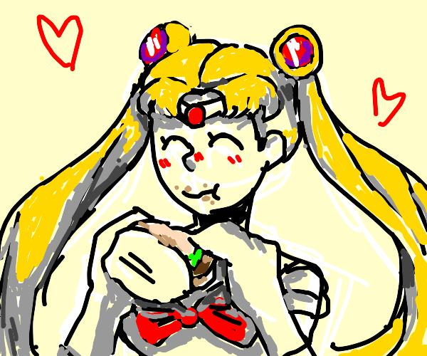 Sailor Moon eats a cheeseburger