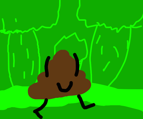the poop emoji on a nice walk in the forest