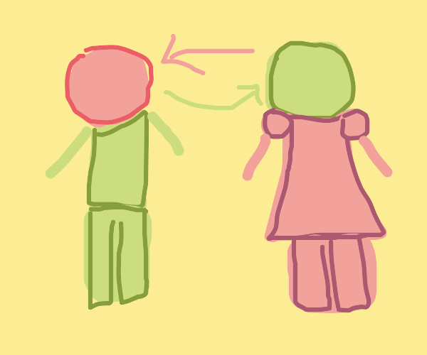 Green man and pink woman switch heads