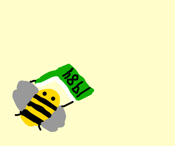 Adorable bumblebee tries to read 1984