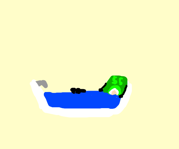 Dollar bill takes a relaxing bath