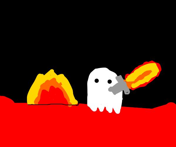 ghost wielding fiery katana in hell